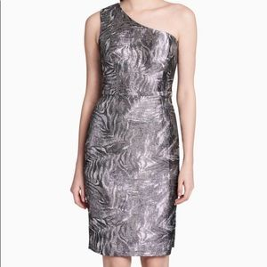 Calvin Klein One Shoulder Brocade Sleeveless Dress